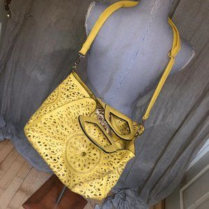 Melie Bianco Mustard Yellow Laser Cut faux leather